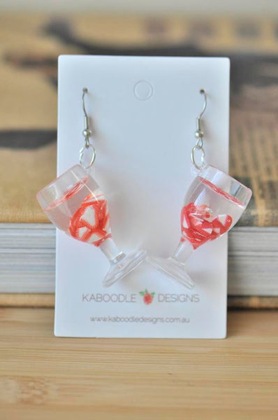 Resin Drink Novelty Dangle Drop Earrings - Strawberry Slices