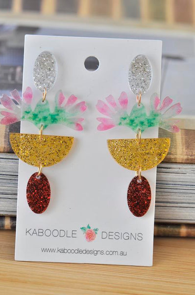 Acrylic Glitter Rainbow Print Flower Drop Dangle Earrings