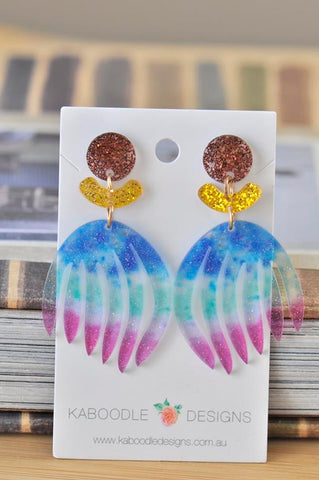 Acrylic Glitter Rainbow Print Brush Flower Drop Dangle Earrings
