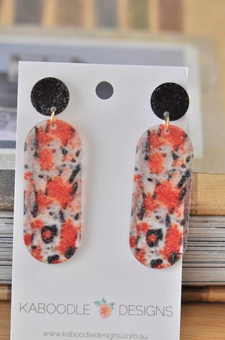 Acrylic Glitter Leopard Print Oval Drop Dangle Earrings