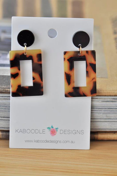 Acrylic Perspex Leopard Print Geometric Dangle Drop Earrings