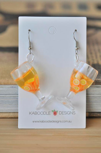 Resin Drink Novelty Dangle Drop Earrings - Orange
