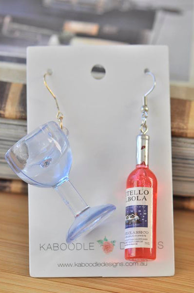 Red Wine Bottle and Glass Novelty Dangle Drop Earrings