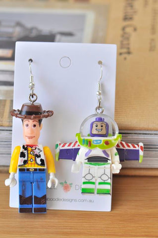 Woody and Buzz Lightyear Toy Story Inspired Lego Novelty Fun Drop Dangle Earrings