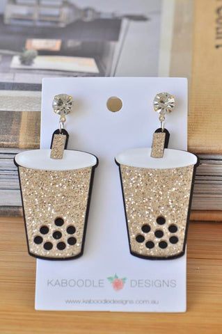 Acrylic Bubble Tea Milk Tea Boba Drink Glitter Drop Dangle Earrings