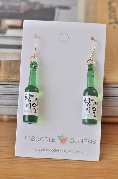 A Korean Rice Wine Soju Drink Novelty Fun Drop Dangle Earrings