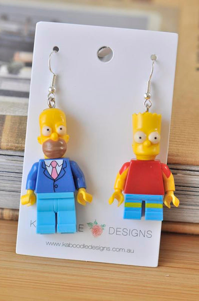 Bart and Homer The Simpsons Inspired Drop Dangle Earrings