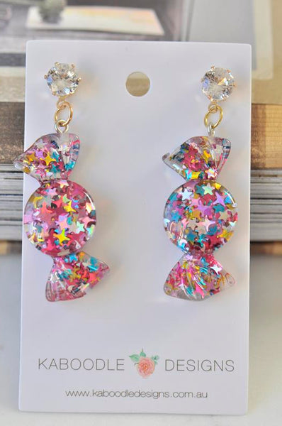 Glitter Stars Candy Lolly Rhinestone Novelty Fun Drop Dangle Earrings