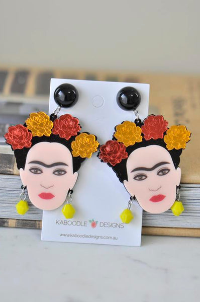 A Acrylic Frida Kahlo Roses Drop Dangle Earrings