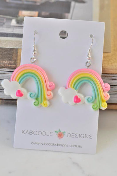 Rainbow Novelty Fun Drop Dangle Earrings