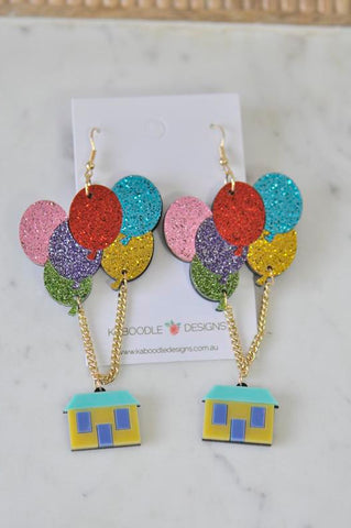 A Acrylic Up Movie Flying Balloon House Drop Dangle Earrings