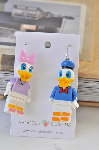 Daisy Duck and Donald Duck Inspired Drop Dangle Earrings