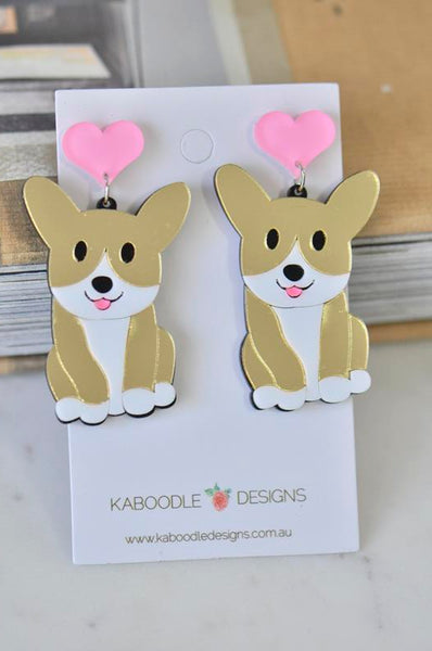 A Acrylic Corgis Dog Drop Dangle Earrings