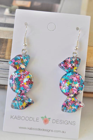 Glitter Stars Candy Lolly Novelty Fun Drop Dangle Earrings
