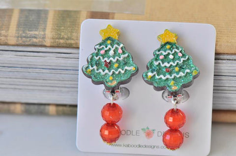 Christmas Tree Stud Clip On Earrings