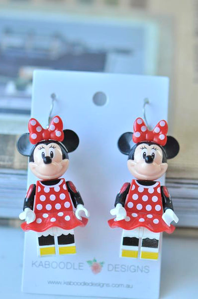 Minnie Mouse Inspired Drop Dangle Earrings - Red