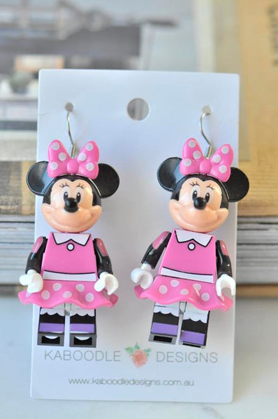 Minnie Mouse Inspired Drop Dangle Earrings - Pink
