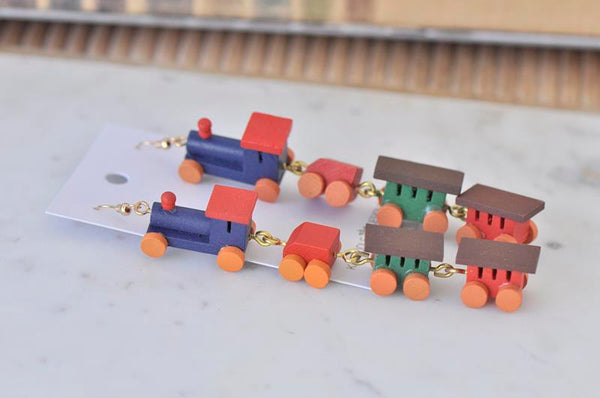 Miniature 3D Wooden Toy Train Teachers Drop Dangle Earrings