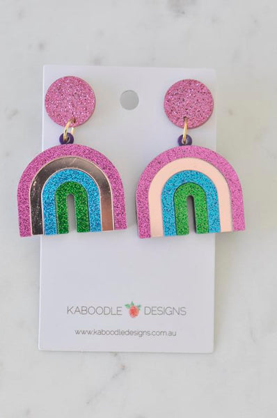 Acrylic Glitter Rainbow Drop Dangle Earrings