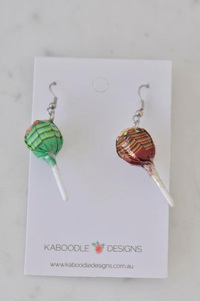 Miniature 3D Candy Lolly Chupa Chups Lollipop Dangle Earrings - Maroon and Green