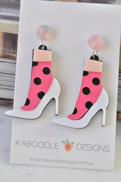 Novelty Acrylic Stiletto Heel Polkadot Socks Drop Dangle Earrings