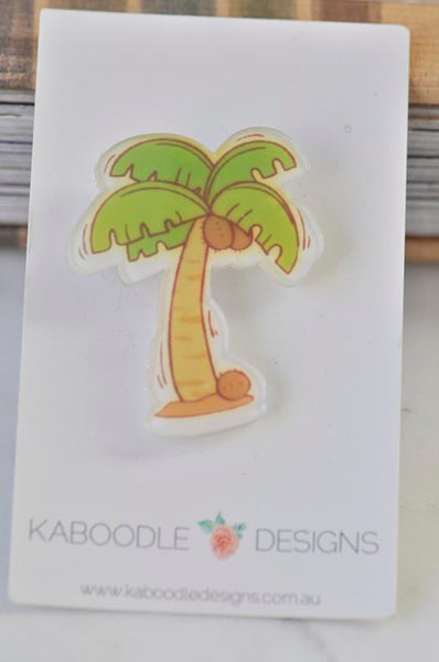 Acrylic Laser Cut Tropical Coconut Palm Tree Pin Brooch