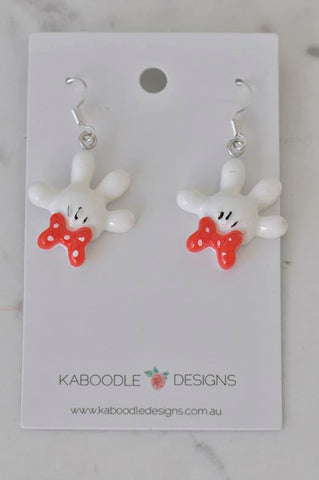 Mickey and Minnie Mouse Hands Gloves with Bow Drop Earrings