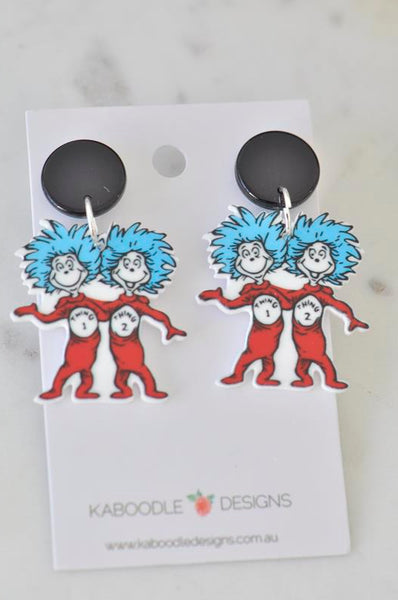 Acrylic Dr Seuss Thing 1 and Thing 2 Drop Dangle Earrings