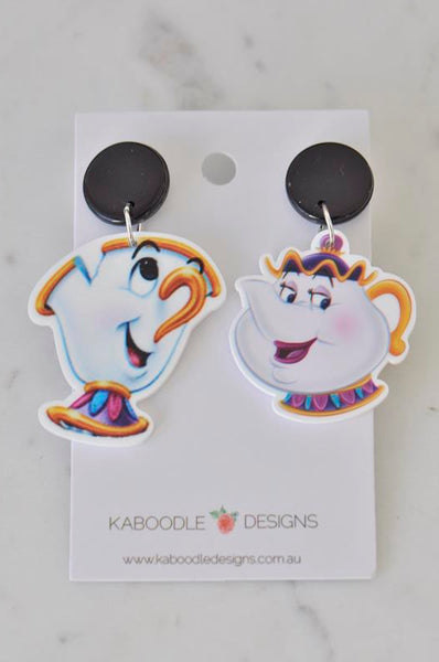 Acrylic Beauty and The Beast Mrs Potts Teapot and Chip Cup Tea Cup Drop Dangle Earrings