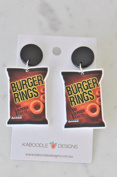 Acrylic Australian Snack Burger Rings Chips Drop Earrings