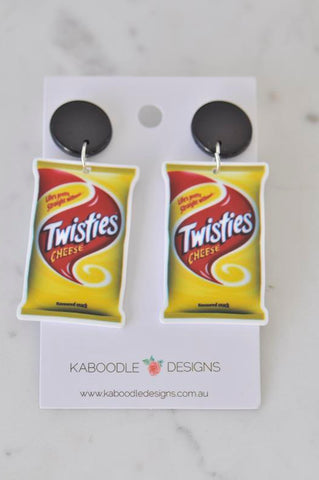Acrylic Australian Snack Twisties Cheese Chips Drop Earrings
