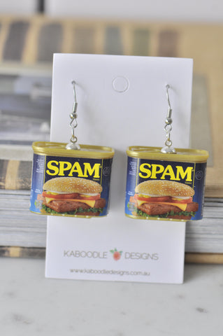 A Novelty Fun 3D SPAM Ham Sandwich Drop Dangle Earrings