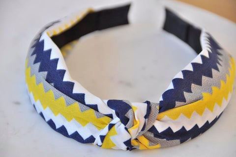 Fabric Knotted Headband - Chevron Zig Zag
