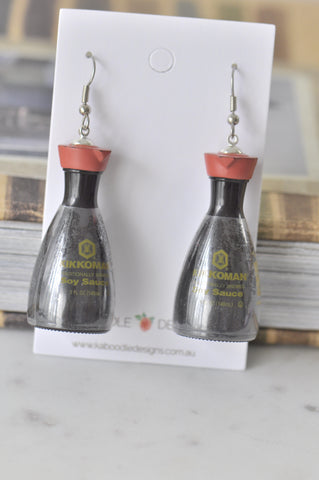 A Novelty Fun 3D Kikkoman Soy Sauce Drop Dangle Earrings