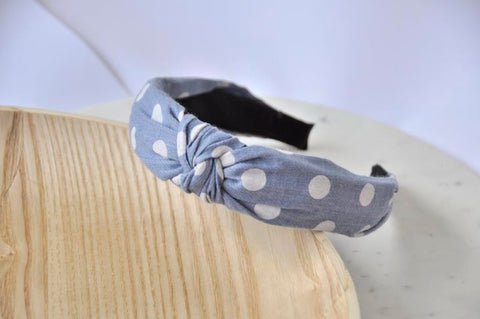 Fabric Knotted Headband - Denim Blue Polkadot