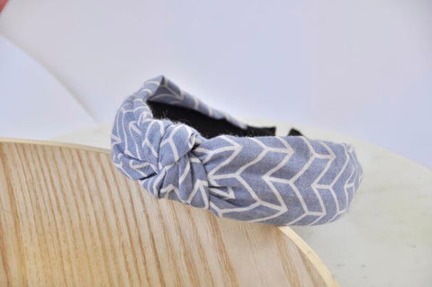 Fabric Knotted Headband - Denim Blue Arrows