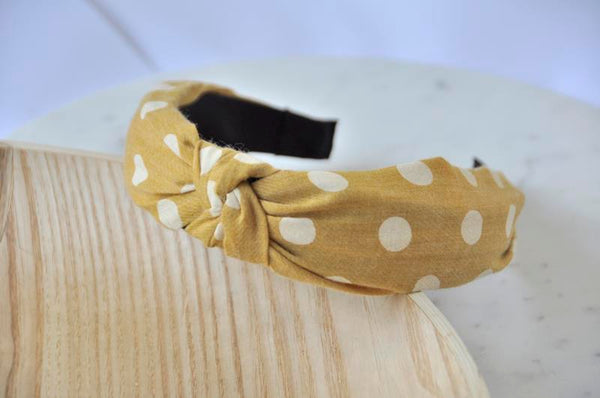 Fabric Knotted Headband - Mustard Yellow Polkadot