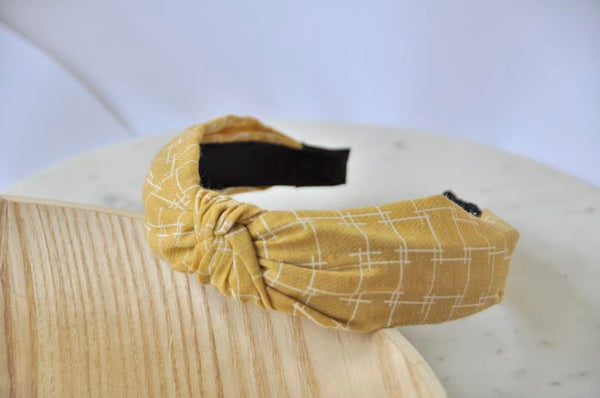 Fabric Knotted Headband - Mustard Yellow