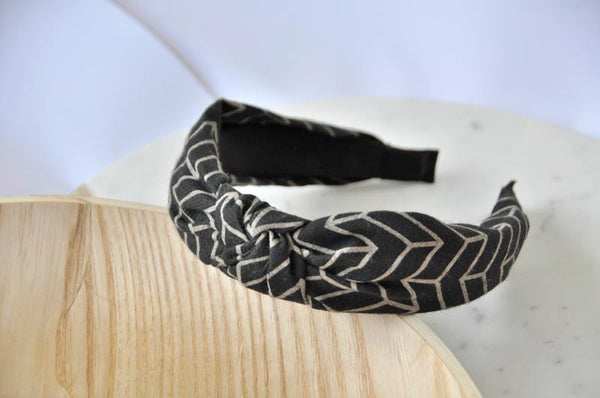Fabric Knotted Headband - Black arrows