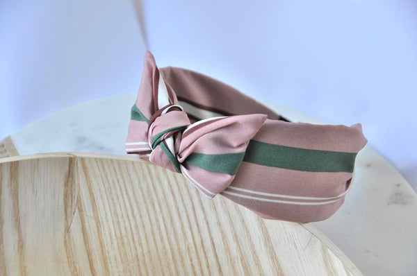 Fabric Bow Headband - Pink Striped Print