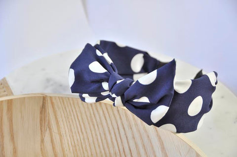 Fabric Bow Headband - Navy Blue Polkadot Print