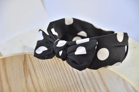 Fabric Bow Headband - Black Polkadot Print