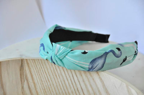 Fabric Knotted Headband - Blue Flamingo
