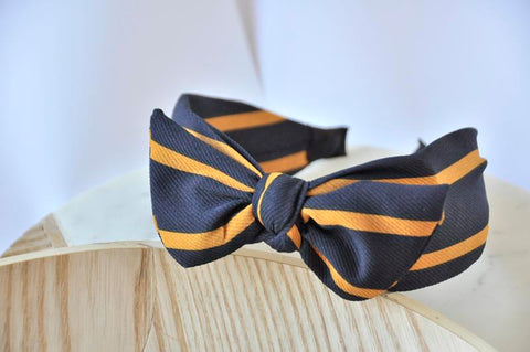 Fabric Bow Headband - Blue and Mustard Yellow Striped Print