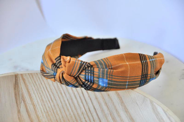 Fabric Knotted Headband - Chequered Stripes