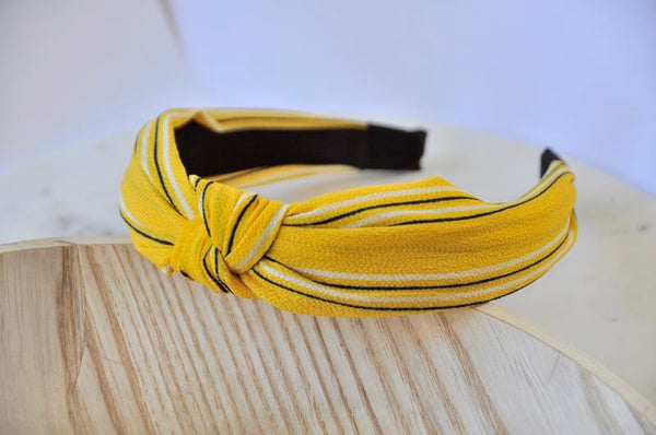 Fabric Knotted Headband - Mustard Yellow Stripes