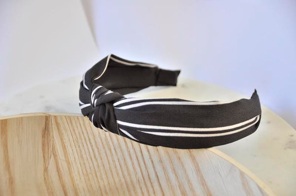 Fabric Knotted Headband - Black and White Stripes