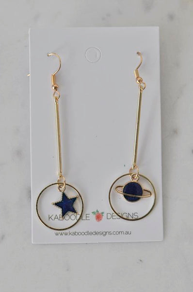 Astronaut Galaxy Universe Star Planet Saturn Novelty Fun Drop Dangle Earrings