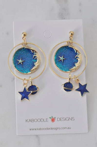 Astronaut Galaxy Universe Star Moon Planet Novelty Fun Drop Dangle Earrings