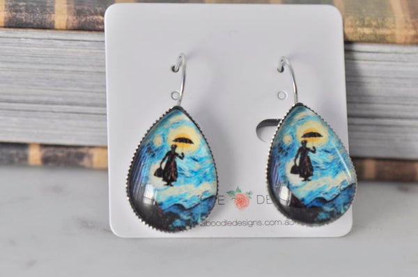 Handmade Teardrop Clip Dangle Drop Earrings - Mary Poppins Van Gogh